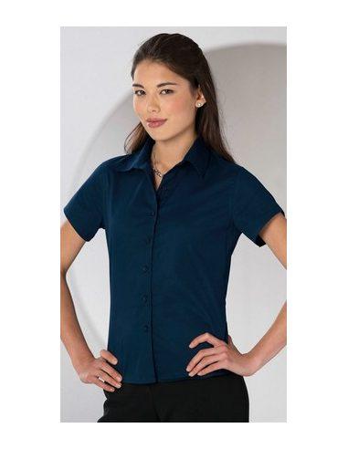 Ženska  klasična tvil srajca z kratkimi  rokavi - 917F