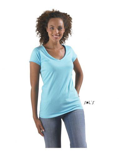 Ženska majica z V izrezom in nezarobljenimi robovi MILD