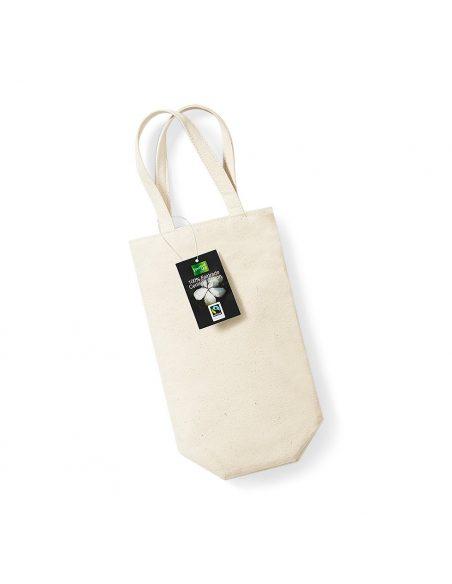 Bombažna vreča za steklenico - Fairtrade bombaž W620